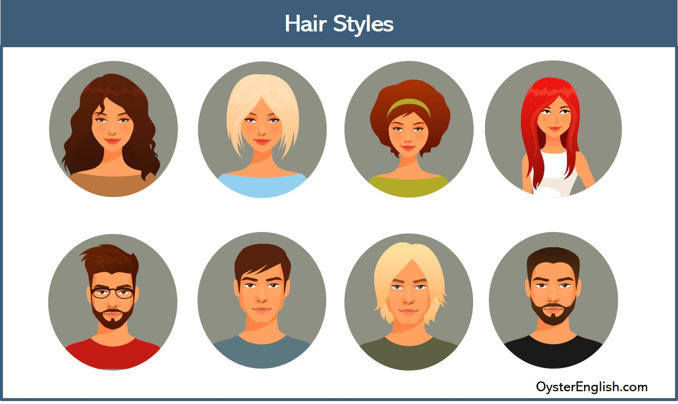 Illustrations of four women and four men with different hairstyles and facial hair