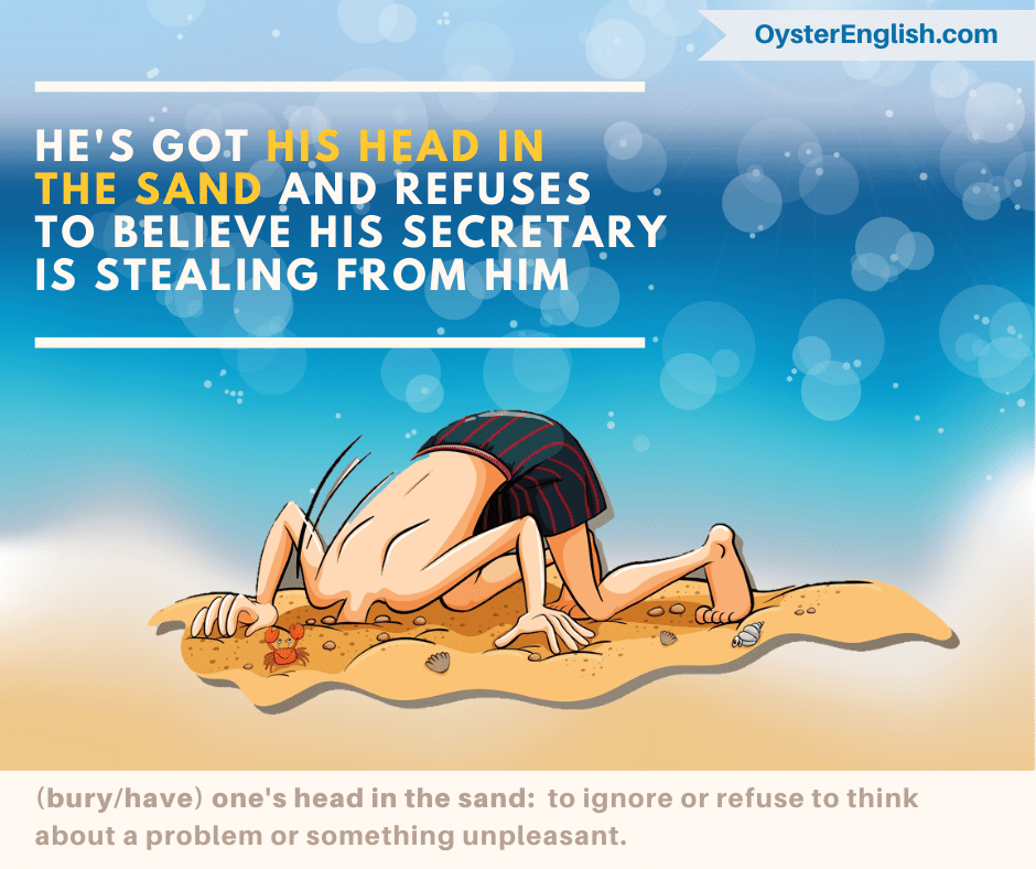 Cartoon of man in swimsuit on the beach with his head burried inside the sand.