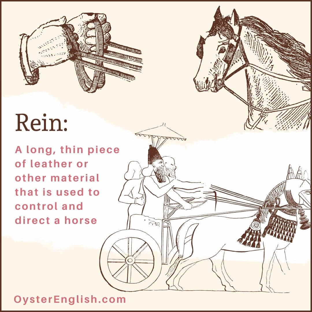 3 drawings of reins: 1. A close-up of hands holding the reins 2. The head of a horse with reins on each side of the face 3. People in a chariot holding the reins on a horse