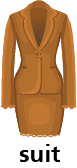 illustration of a women's suit jacket and skirt