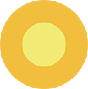 Bright yellow and orange circle icon representing sunny weather